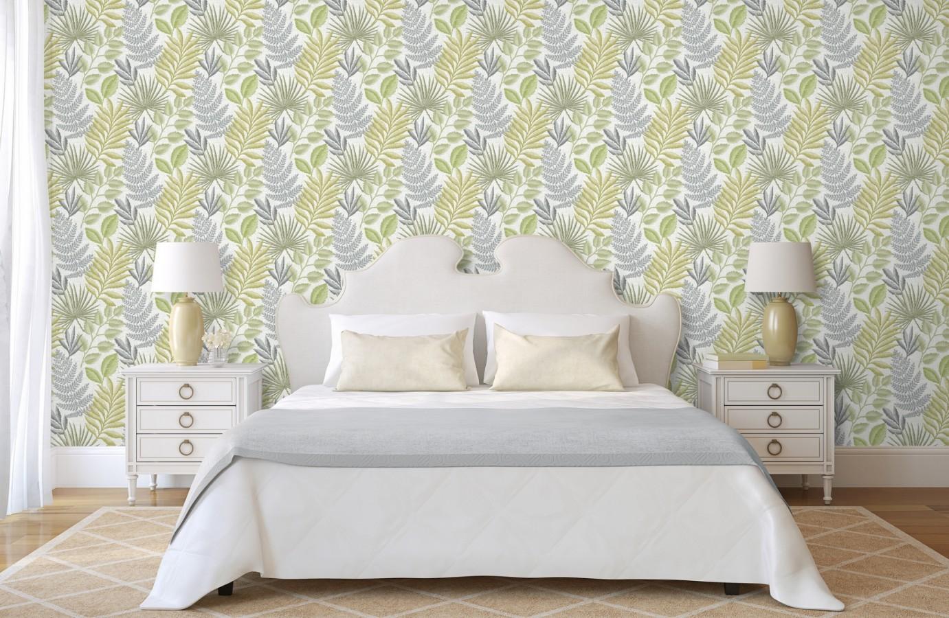 Papel pintado hojas silvestres estilo tropical Acapulco 679568