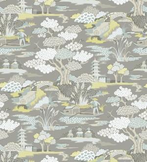 Papel pintado toile de jouy japones Mandarin Garden 679576