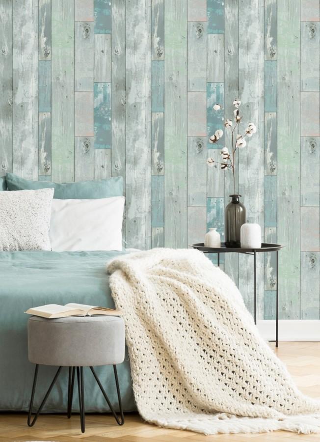 Papel pintado listones de madera estilo tropical Oporto 679582