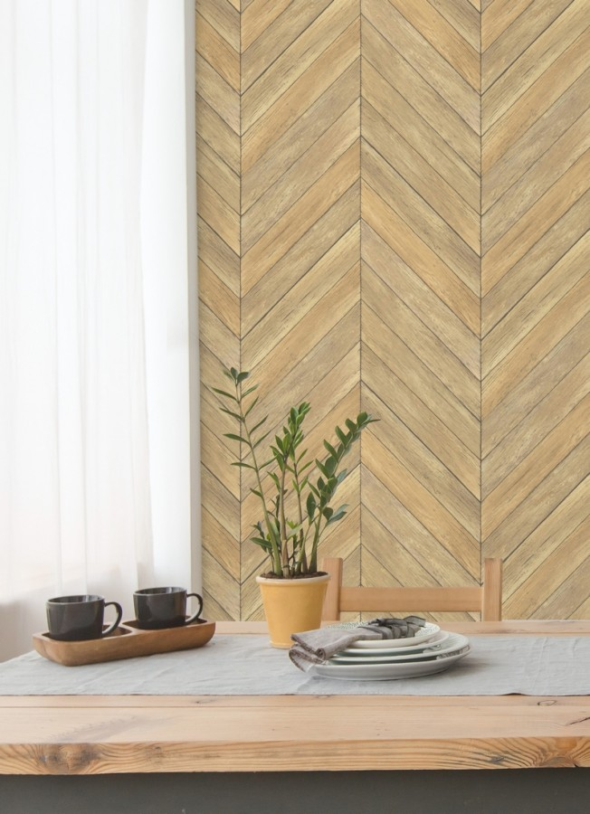 Papel pintado listones de madera formando espigas Porto Mendes 679587