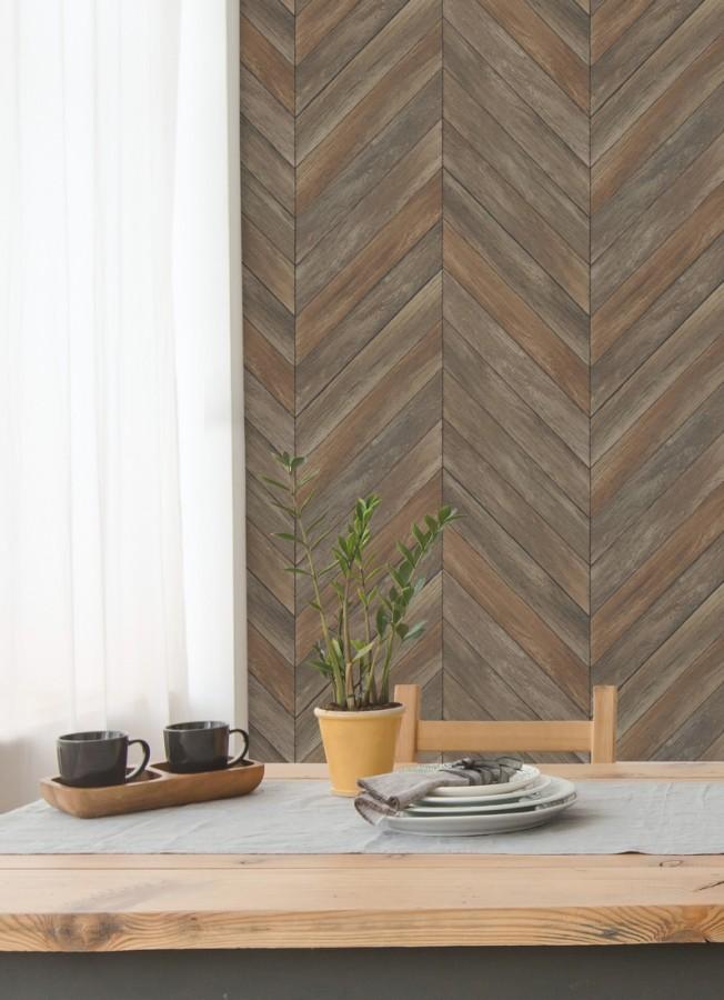 Papel pintado listones de madera formando espigas Porto Mendes 679589