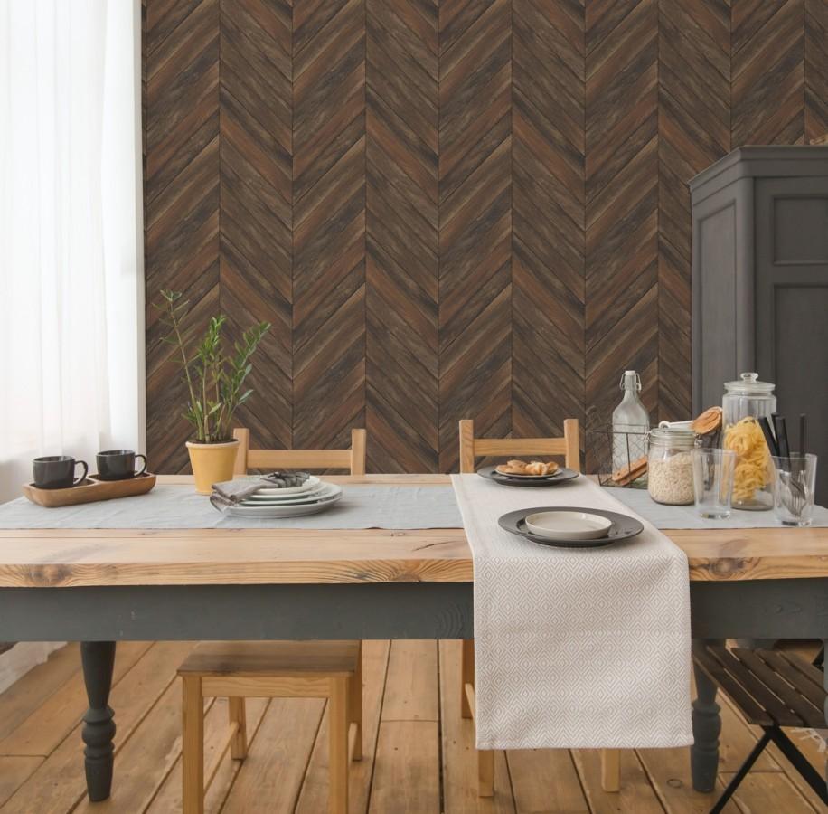 Papel pintado listones de madera formando espigas Porto Mendes 679590