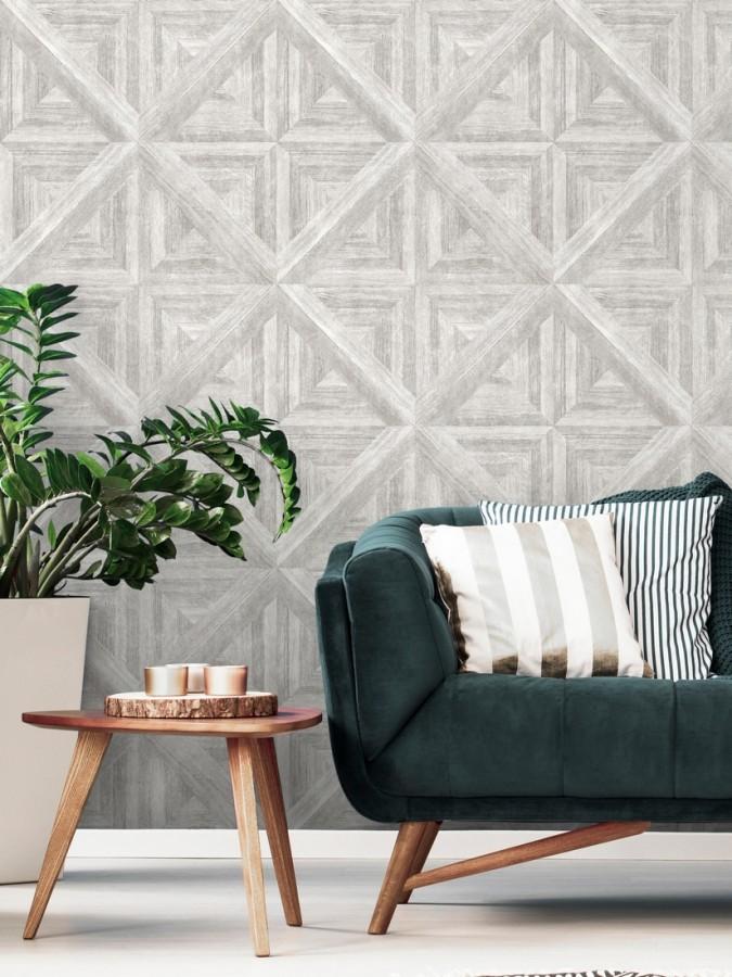 Papel pintado geométrico cuarterones de madera Delfos 679599