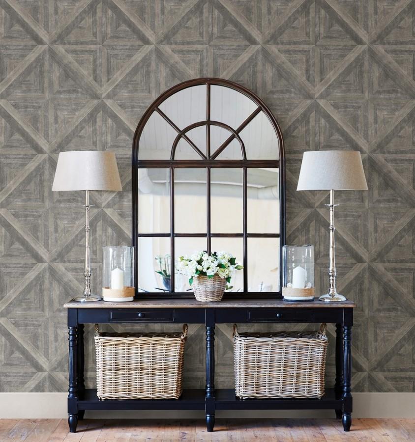 Papel pintado geométrico cuarterones de madera Delfos 679600