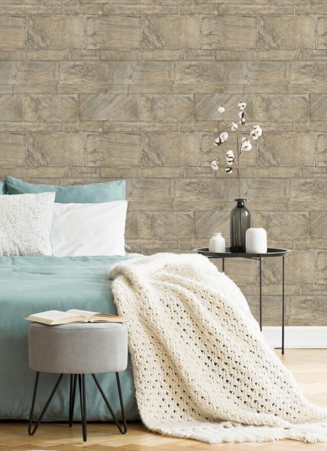 Papel pintado muro de piedras desiguales Cardiff Stone 679603