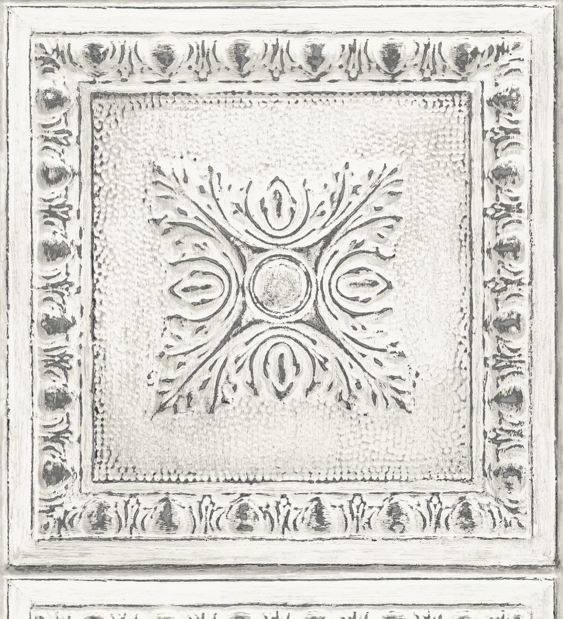 Papel pintado cuarterones estampados de madera teñida en blanco Clarence House 679612