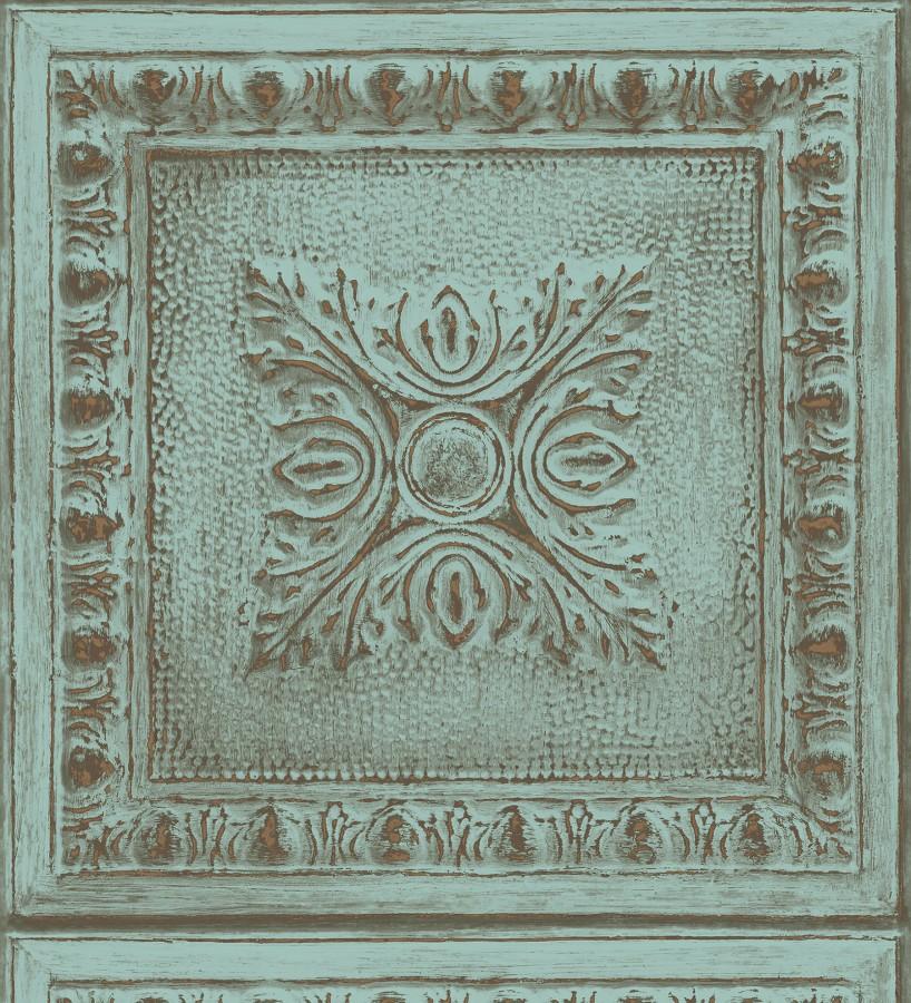 Papel pintado cuarterones estampados de madera teñida en turquesa Clarence House 679613