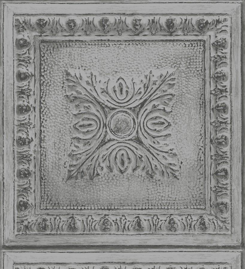 Papel pintado cuarterones estampados de madera teñida en gris Clarence House 679615