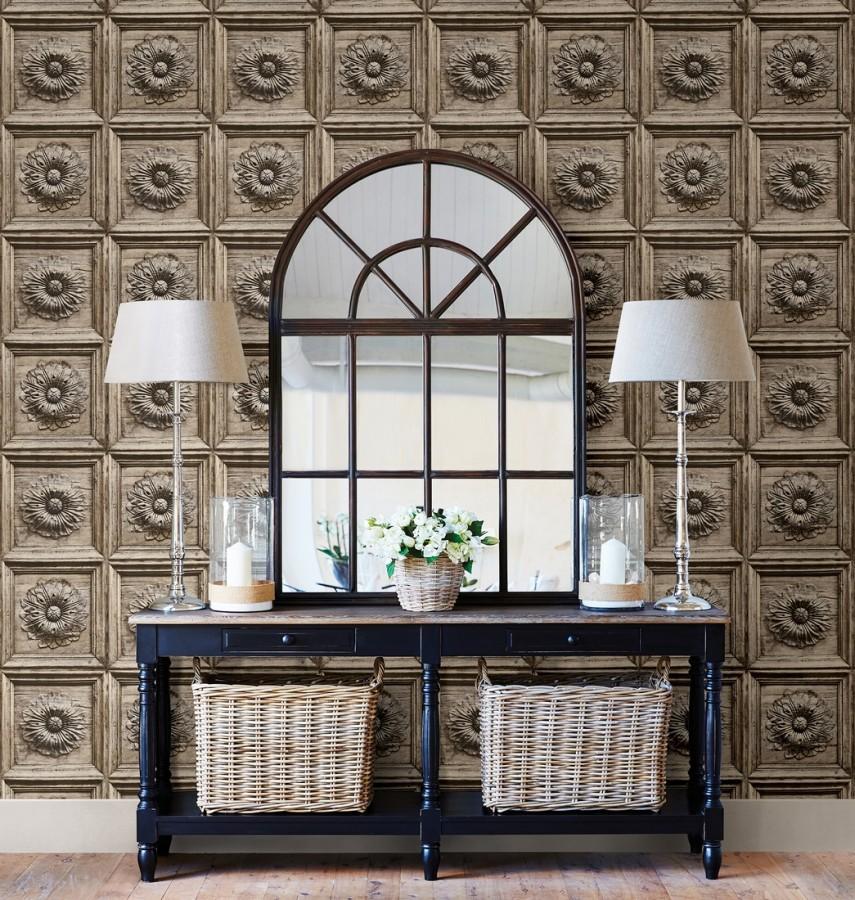 Papel pintado cuarterones con rosetones efecto madera tallada envejecida Napoli 679617