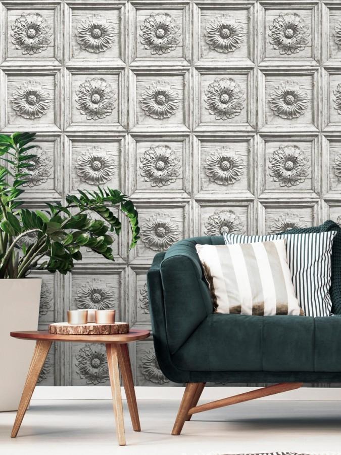 Papel pintado cuarterones con rosetones efecto madera tallada envejecida Napoli 679618