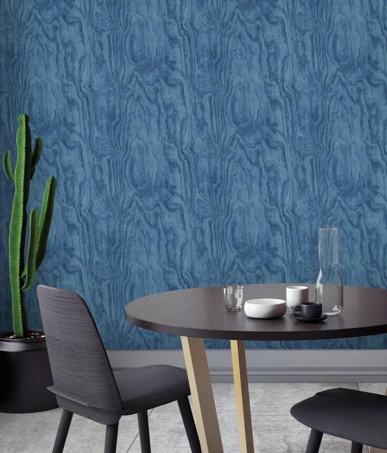 Papel pintado vetas de madera tonos azules Country Wood 679621