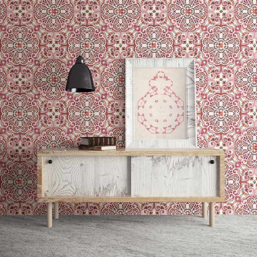 Papel pintado rosetones efecto azulejo rojo estilo árabe Nazar 679623