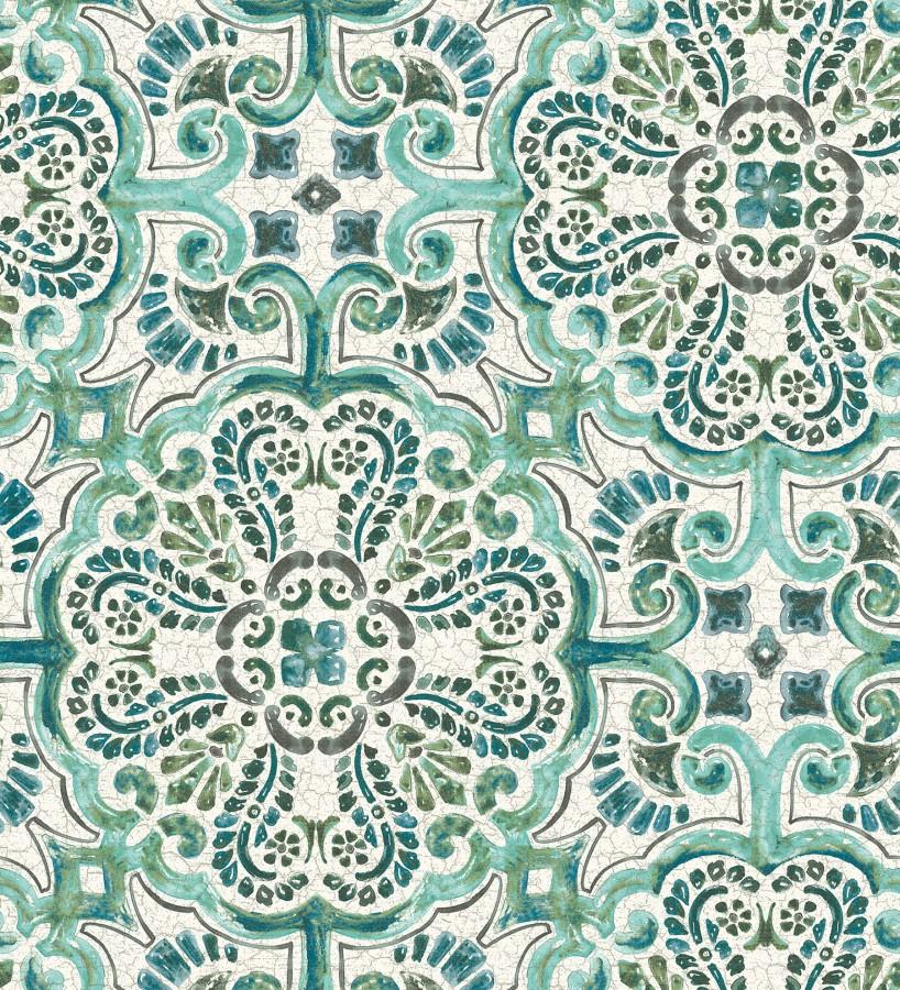 Papel pintado rosetones efecto azulejo verde turquesa estilo árabe Nazar 679624