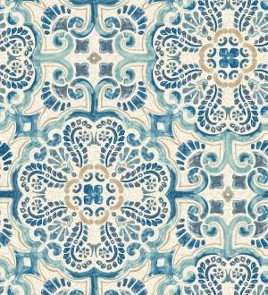 Papel pintado rosetones efecto azulejo tonos azules estilo árabe Nazar 679626