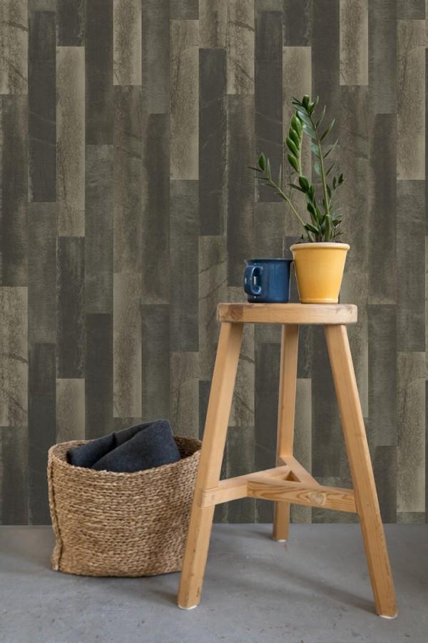 Papel pintado piedra pizarra en listones verticales minimalista Lisboa 679628