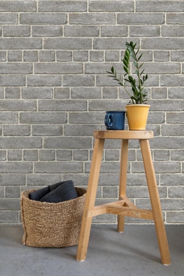 Papel pintado de ladrillos gris textura piedra Dallas 679630