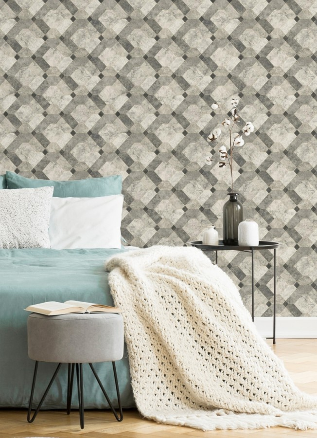 Papel pintado azulejos de piedra geométricos Tarsis 679635