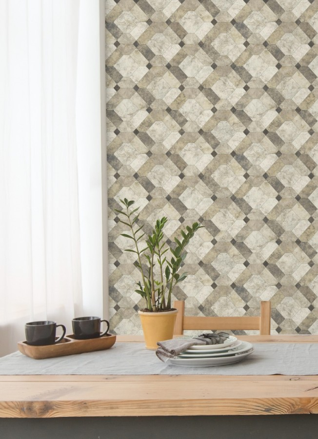 Papel pintado azulejos de piedra geométricos Tarsis 679636