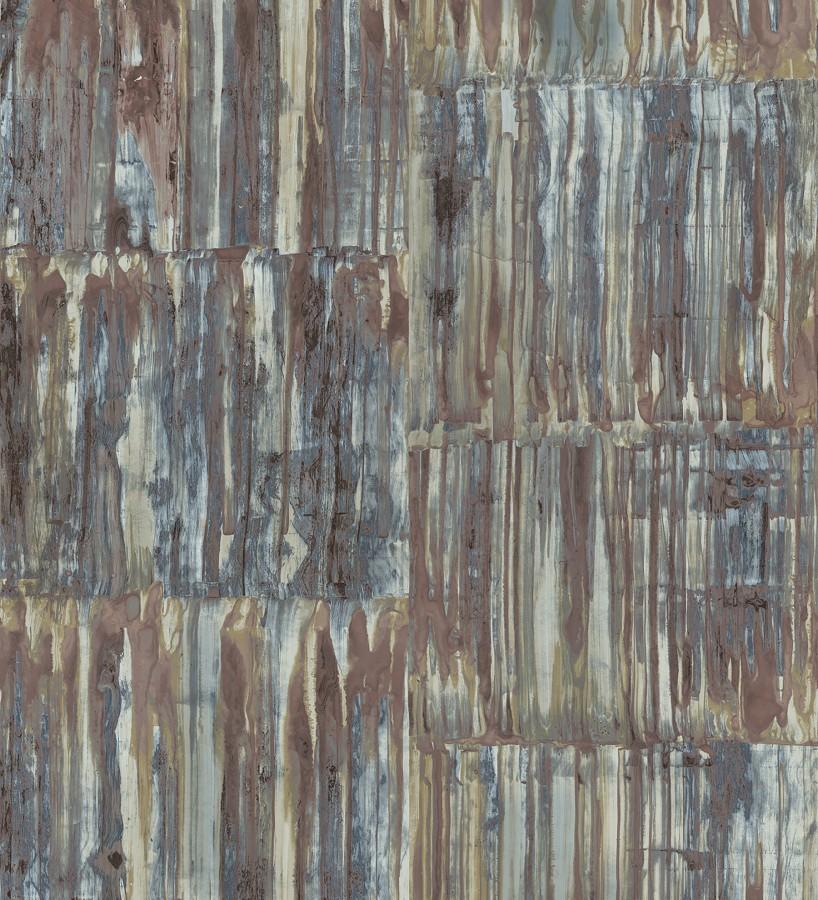Papel pintado de metal cepillado con óxido Kansas Hall 679644
