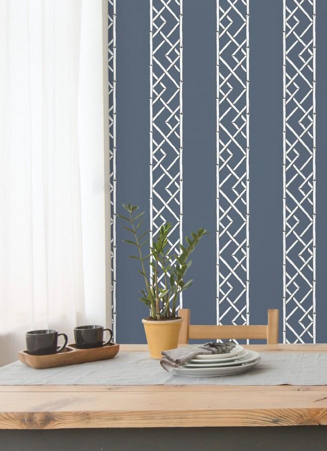 Papel pintado rayas de celosía de bambú Henrik Palace 679655
