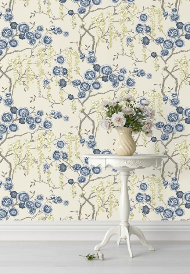 Papel pintado rosas azules y amarillas fondo claro Olivia Bloom 679678