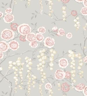 Papel pintado rosas coral y amarillas fondo gris claro Olivia Bloom 679679