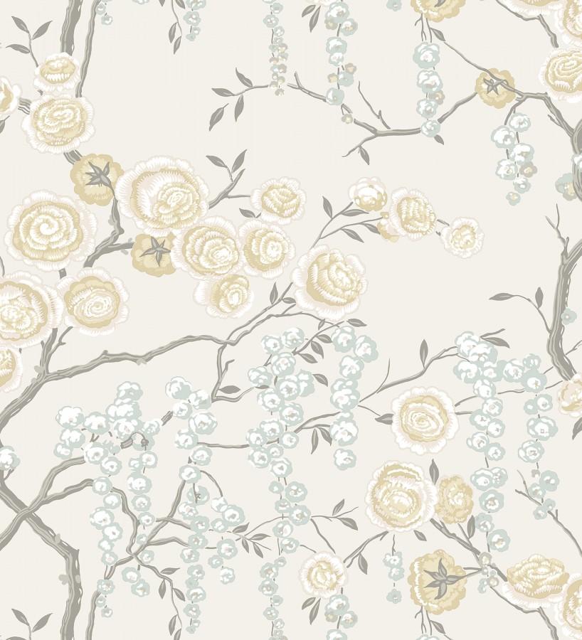Papel pintado rosas amarillas y gris azulado fondo claro Olivia Bloom 679681