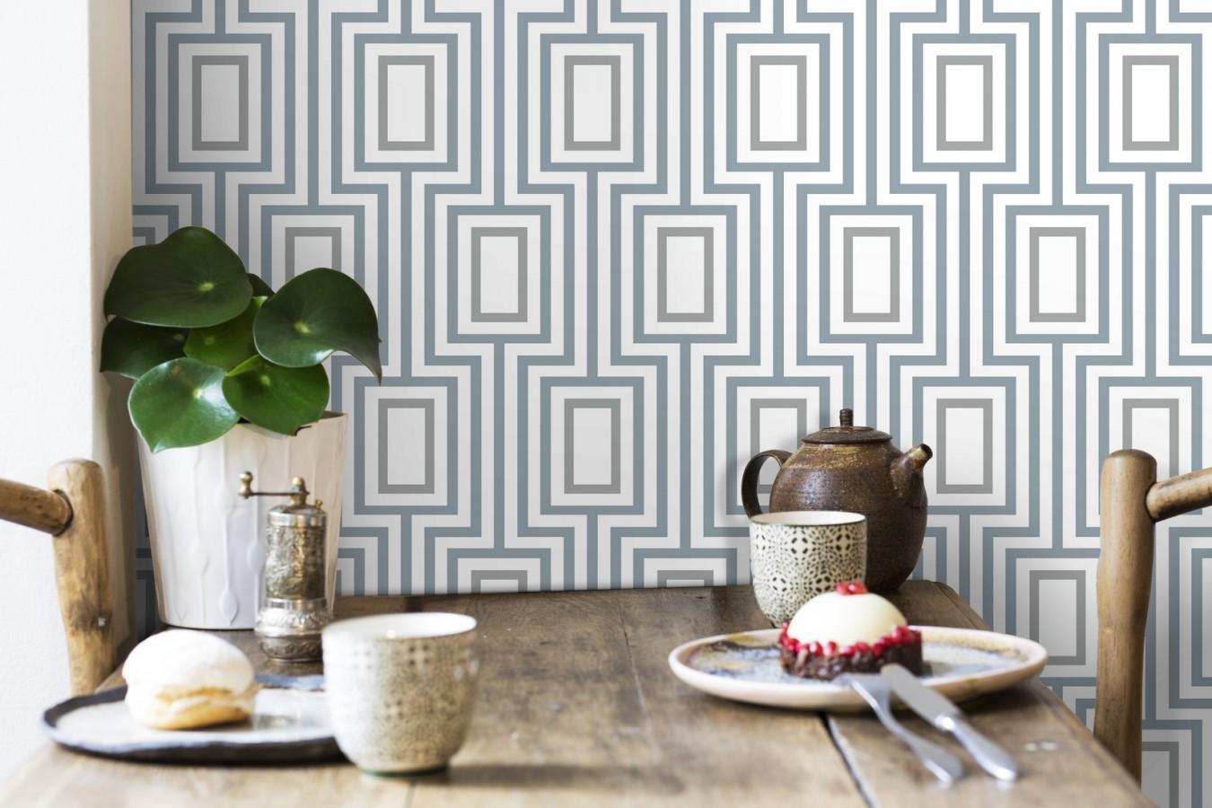 Papel pintado de rectángulos formando un laberinto Clarion 679685