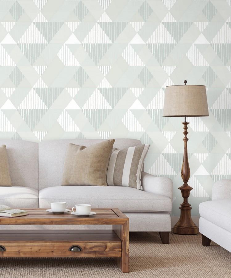 Papel pintado geométrico rombos y rayas Harper 679699