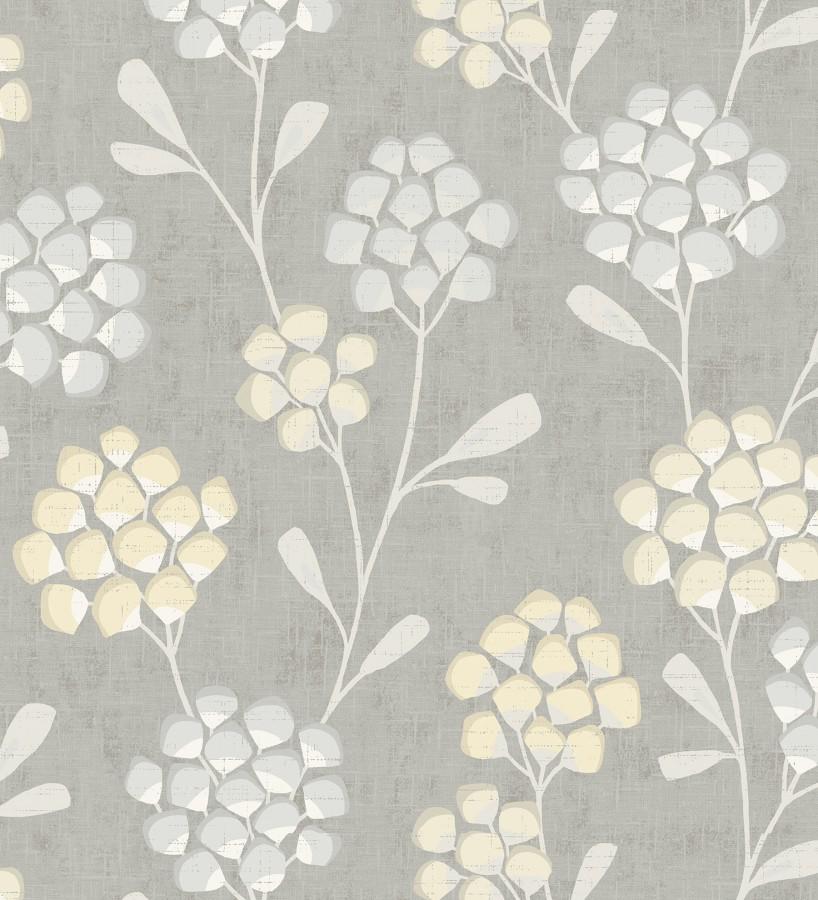 Papel pintado flores con hojas geométricas estilo nórdico Covent Garden 679706