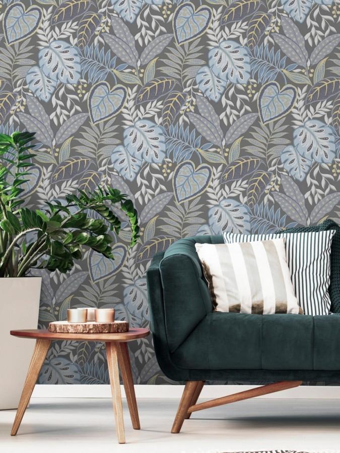 Papel pintado hojas tropicales estilo inglés Belfast Garden 679709