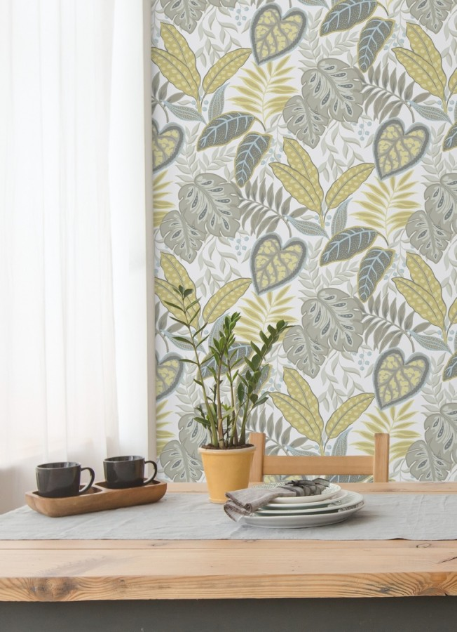 Papel pintado hojas tropicales estilo inglés Belfast Garden 679710