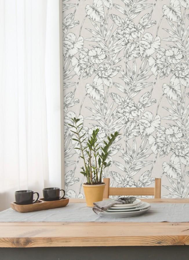 Papel pintado hojas perfiladas en gris oscuro Dutch Garden 679718