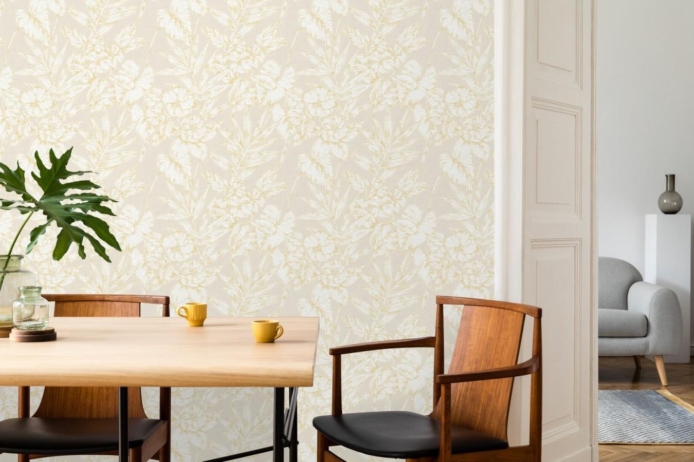 Papel pintado hojas perfiladas en amarillo Dutch Garden 679719