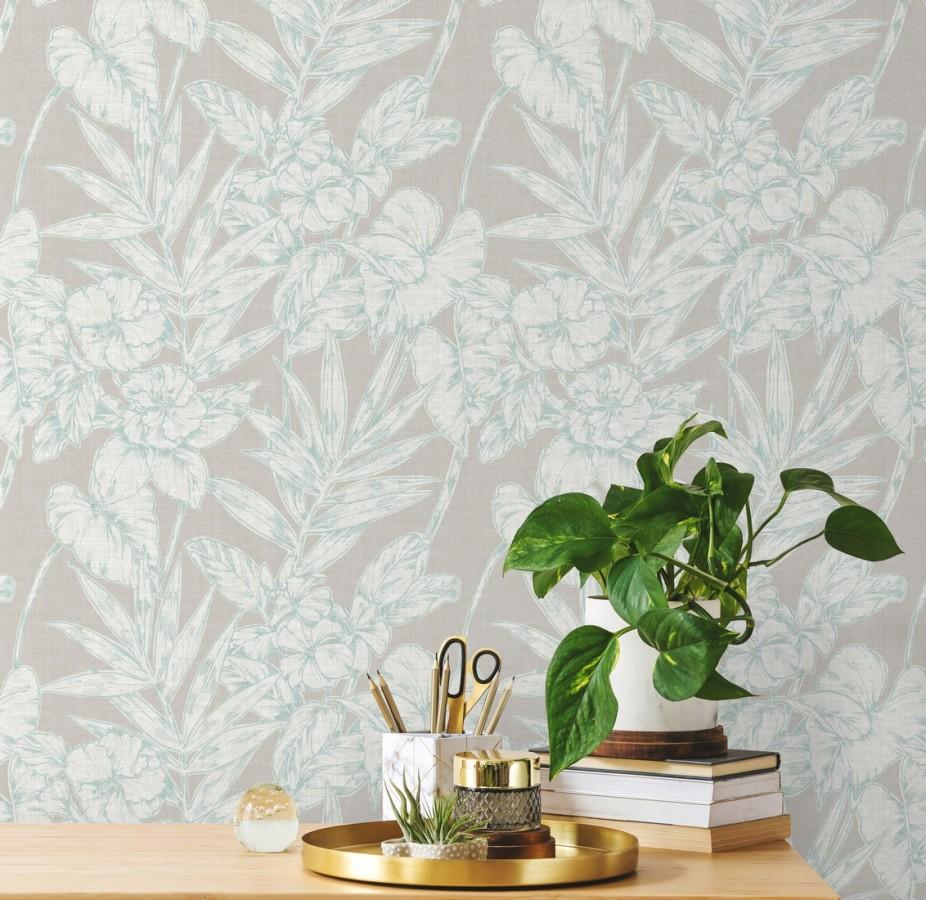 Papel pintado hojas perfiladas en verde agua Dutch Garden 679720