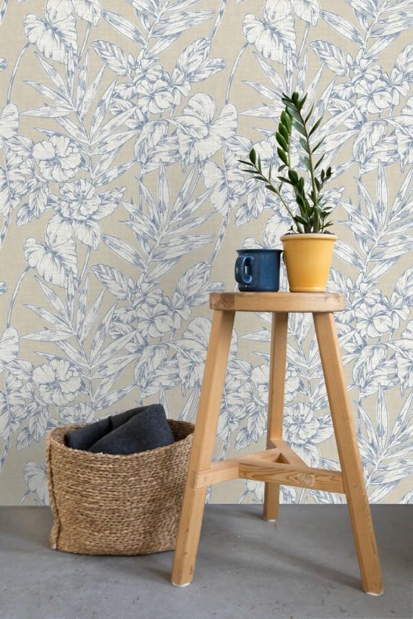Papel pintado hojas perfiladas en azul Dutch Garden 679721