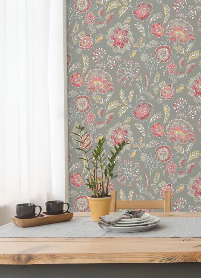 Papel pintado flores rojo coral fondo gris estilo inglés Danish Garden 679722