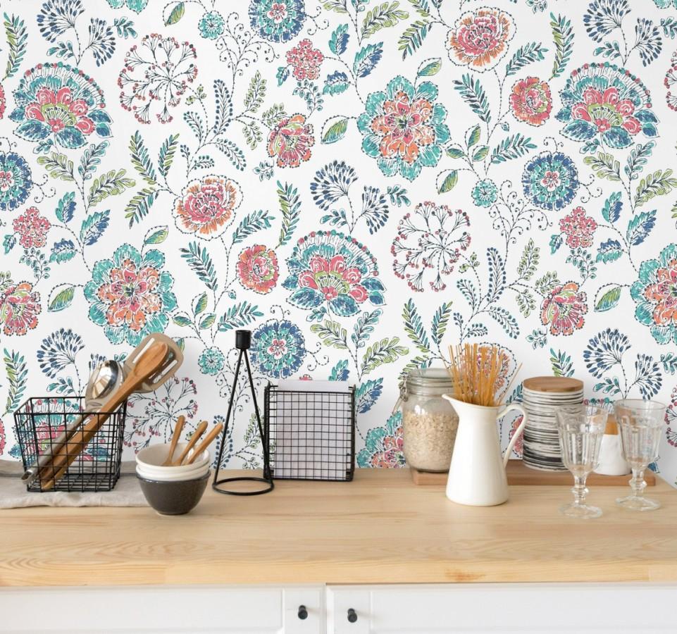 Papel pintado flores turquesas fondo blanco estilo inglés Danish Garden 679723