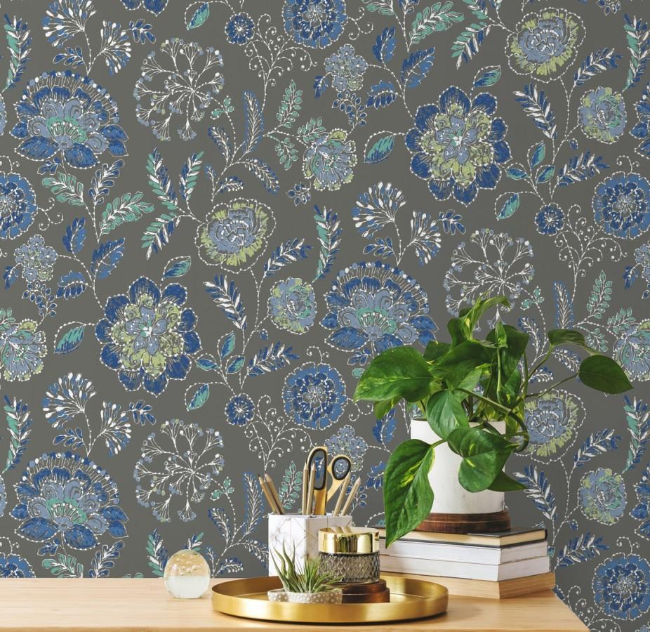 Papel pintado flores azules fondo gris oscuro estilo inglés Danish Garden 679724