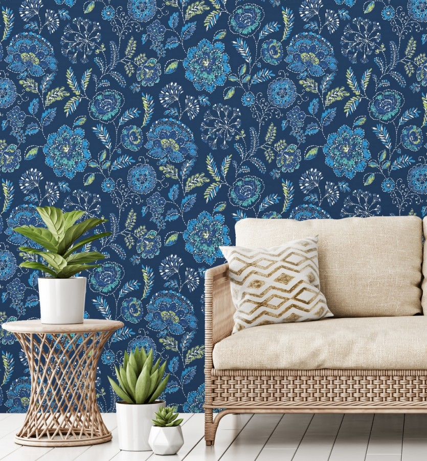 Papel pintado flores azules fondo azul intenso estilo inglés Danish Garden 679725