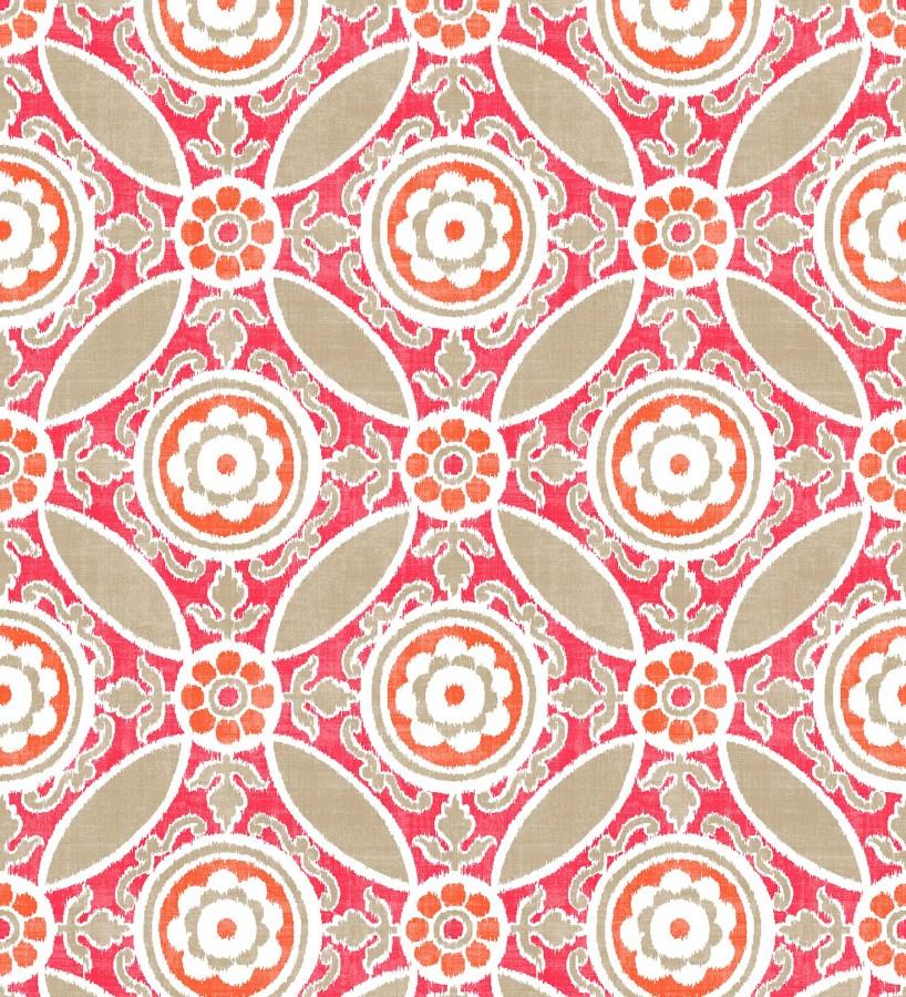 Papel pintado geométrico caleidoscopio rojo coral Scarlet 679726