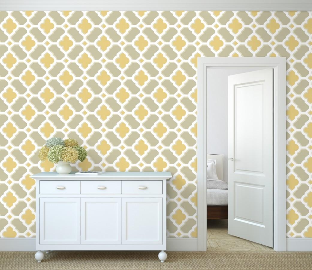 Papel pintado geométrico de vidrieras amarillo Endor Majestic 679737
