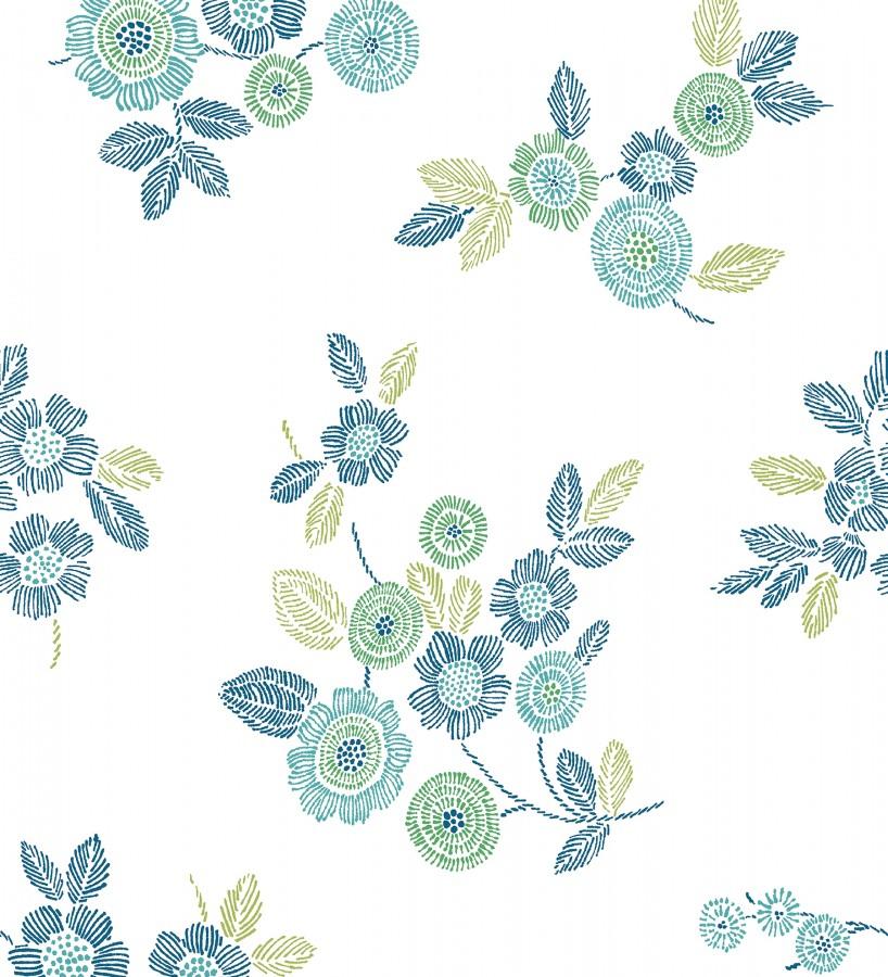 Papel pintado flores turquesa de estilo puntillista Richmond Park 679740