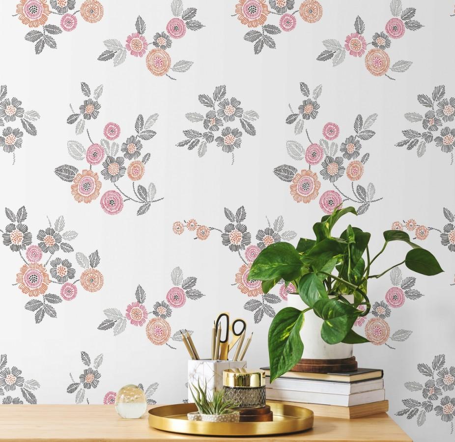 Papel pintado flores rosas de estilo puntillista Richmond Park 679741