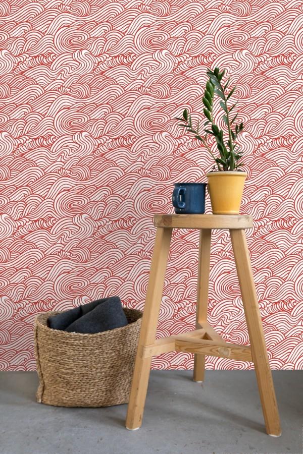 Papel pintado inspirado en las olas del mar en tonos rojos Rolling Waves 679743