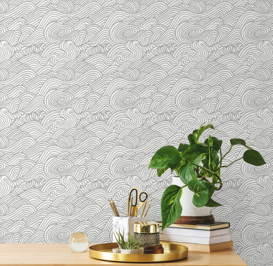 Papel pintado inspirado en las olas del mar en tonos grises Rolling Waves 679744