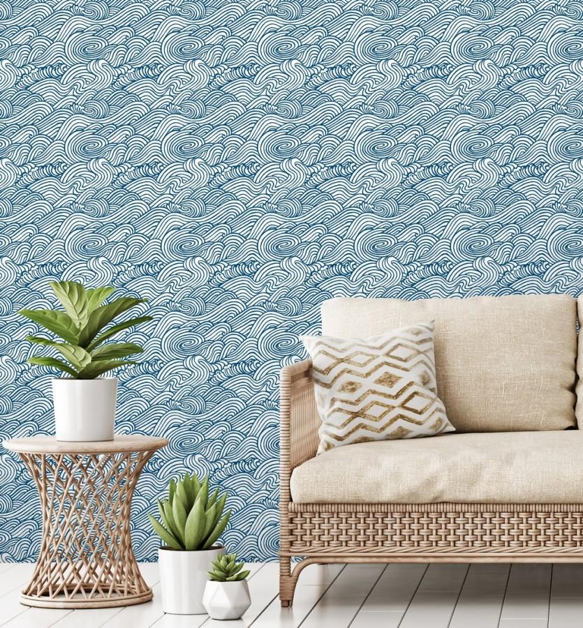 Papel pintado inspirado en las olas del mar en tonos azules Rolling Waves 679745