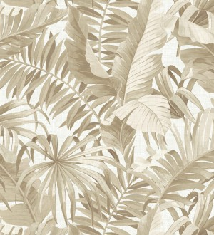 Papel pintado de hojas tropicales beige Palm Beach 679748