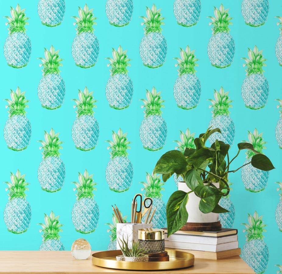 Papel pintado de piñas celeste turquesa estilo tropical Tropical Fruit 679750
