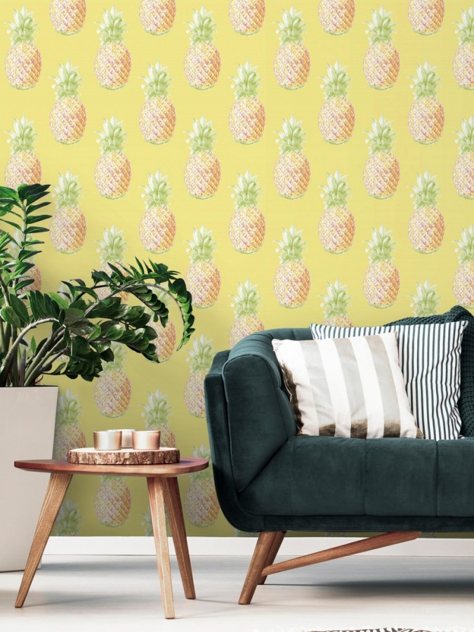 Papel pintado de piñas amarillas estilo tropical Tropical Fruit 679751
